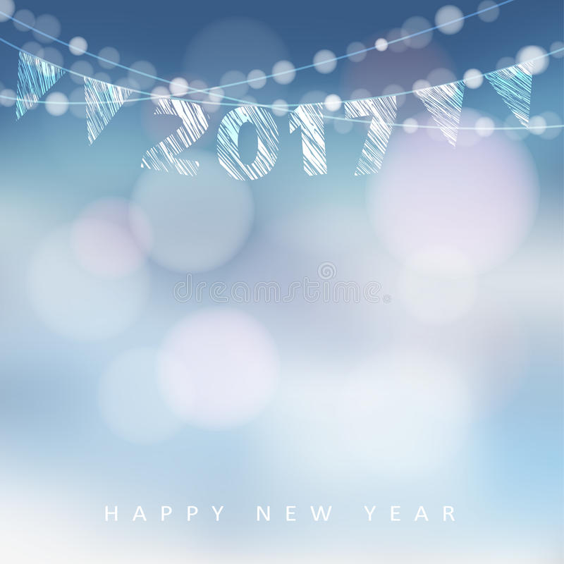Happy new year greeting card with 2017. Glittering lights, illustration background vector illustration