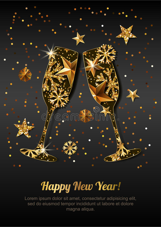 Happy New Year greeting card with gold drinking glasses. Holiday black glowing background. Stars, snowflakes with golden pattern. Concept for New Year banner stock illustration