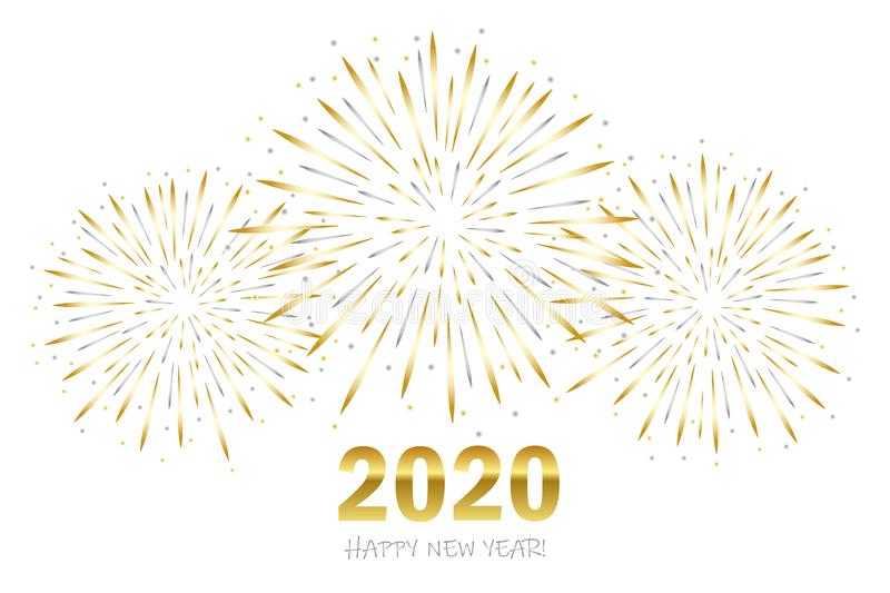Happy new year greeting card 2020 with gold and silver firework royalty free illustration