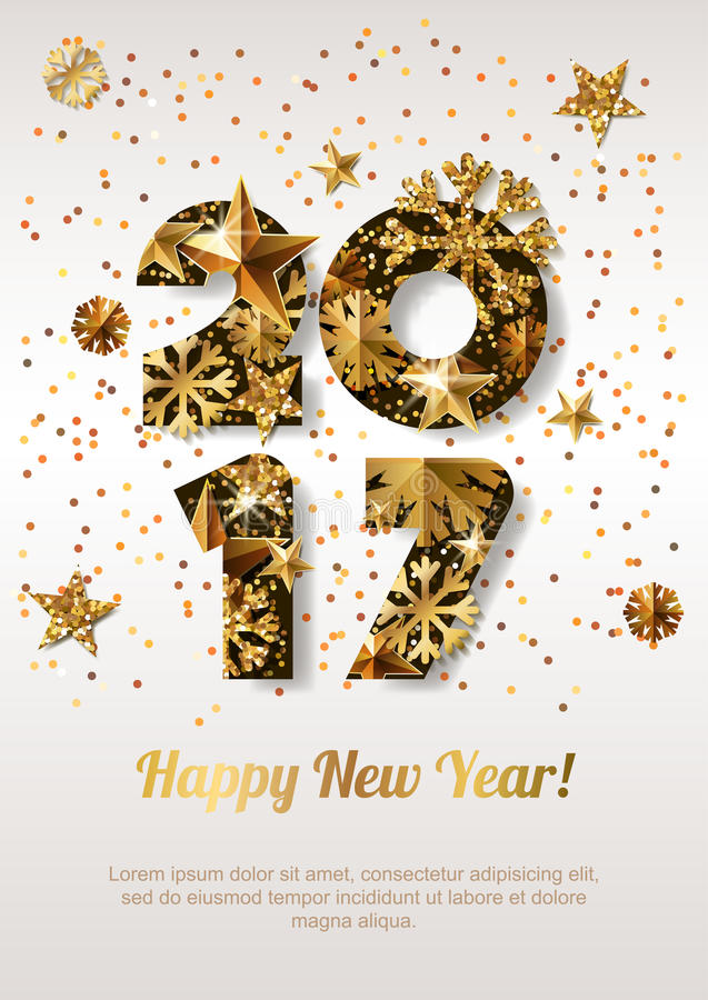Happy New Year 2017 greeting card with golden numbers. Abstract holiday glowing background. Stars and snowflakes with gold shining pattern. Concept for New royalty free illustration