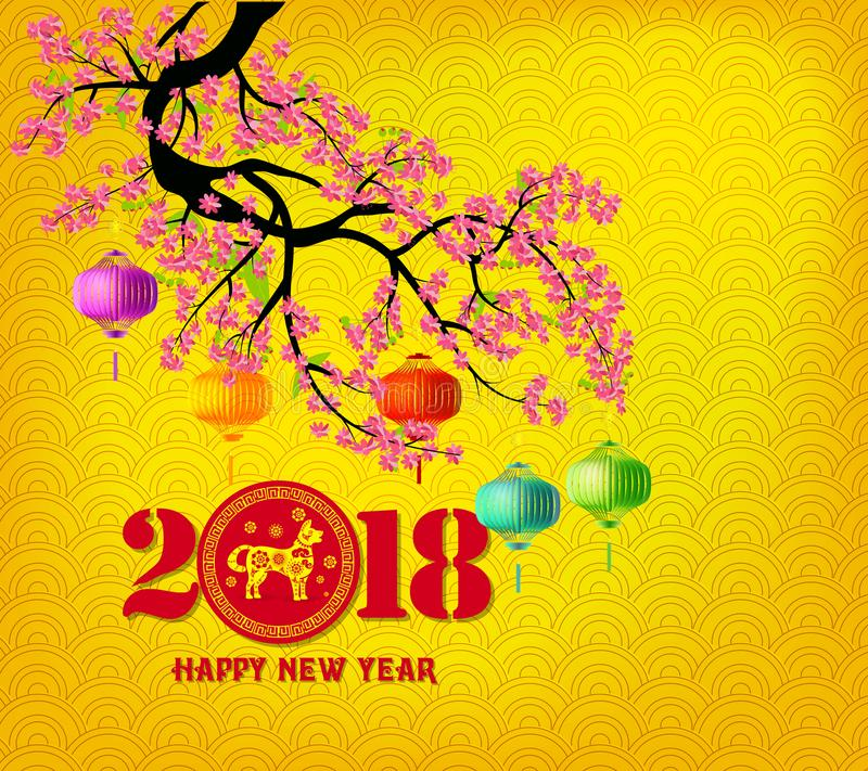 Download Happy New Year 2018 Greeting Card And Chinese New Year Of The Dog Stock Image - Image of calendar, invitation: 105787687