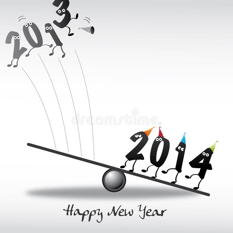 2014 Happy New Year Greeting Card royalty free illustration