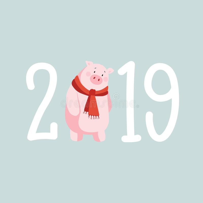 Happy New Year 2019 greeting card, invitation with cute pig illustration. Asian, Chinese zodiac prosperity symbol stock illustration