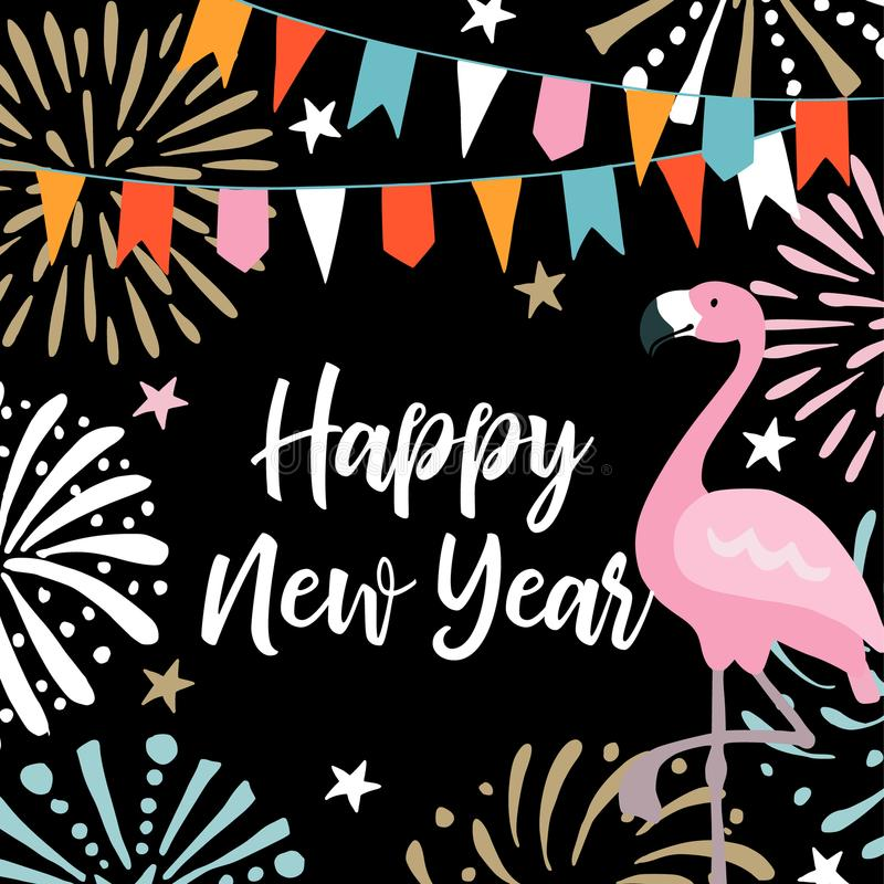 Happy New Year greeting card, invitation with hand drawn fireworks, flags and flamingo bird. Birthday party decoration vector illustration