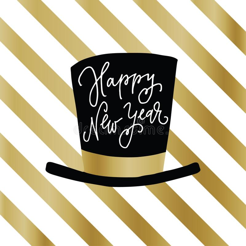Happy New Year greeting card, invitation. Party hat with hand lettered text over white and golden stripes. Celebration royalty free illustration