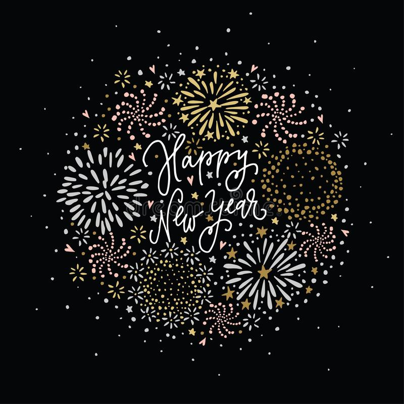 Happy New Year greeting card, invitation. Set of hand drawn silver and golden fireworks, stars and sparks with white royalty free illustration