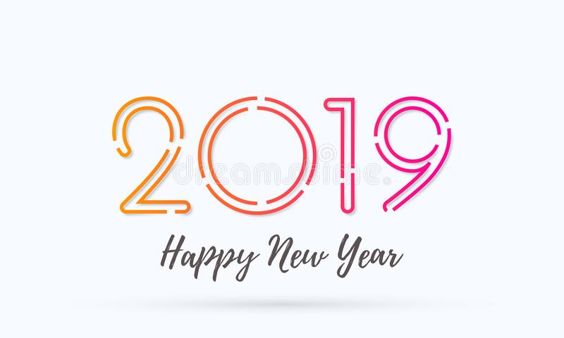 2019 Happy New Year vector greeting card vector illustration