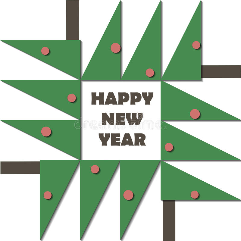Download Happy New Year Greeting Card. Paper Cut Collage Applique Cutout Child. Christmas Tree With Red Balls Geometric Material Stock Photo - Image: 81037632