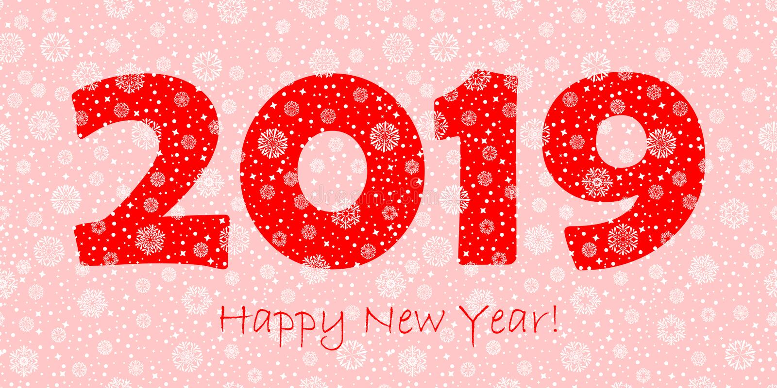 2019 happy new year greeting card. red text on pink background. white snowflakes dots and stars. vector illustration royalty free illustration