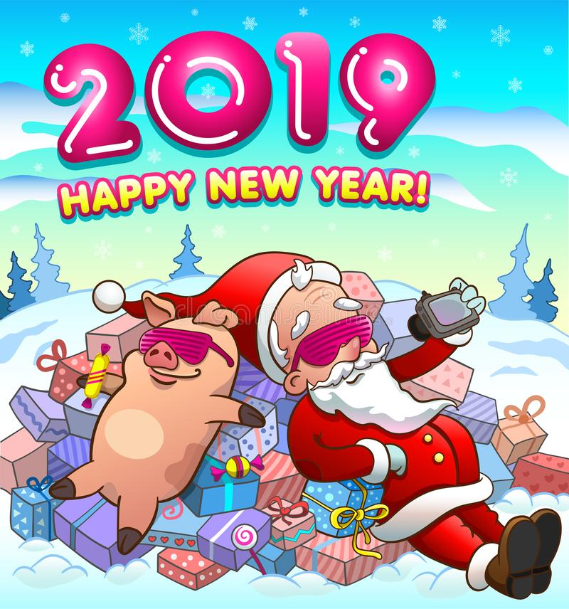 Happy new year greeting card with santa claus and pig in cool glasses stock illustration