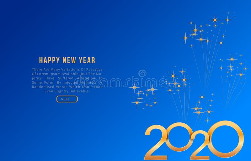 2020 Happy New Year greeting card with shiny golden numbers on blue background with fireworks. Modern template design for holiday vector illustration