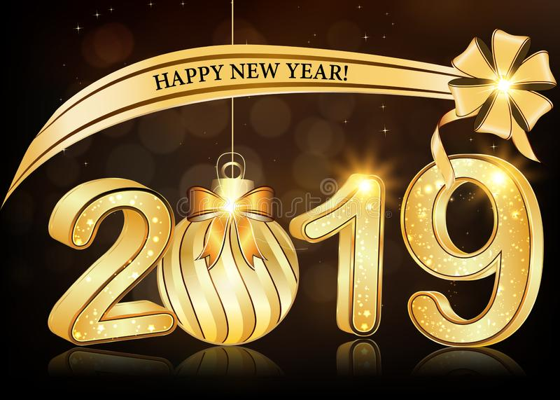 Happy New Year 2019 - elegant brown greeting card with 3d text. Happy New Year 2019 - greeting card with shiny stars and fireworks on a light brown background royalty free illustration