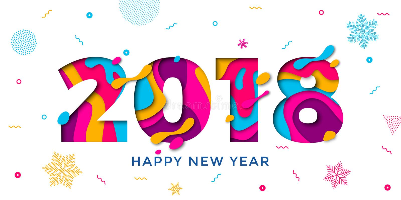 2018 Happy New Year greeting card snowflakes background vector paper text carving stock photography