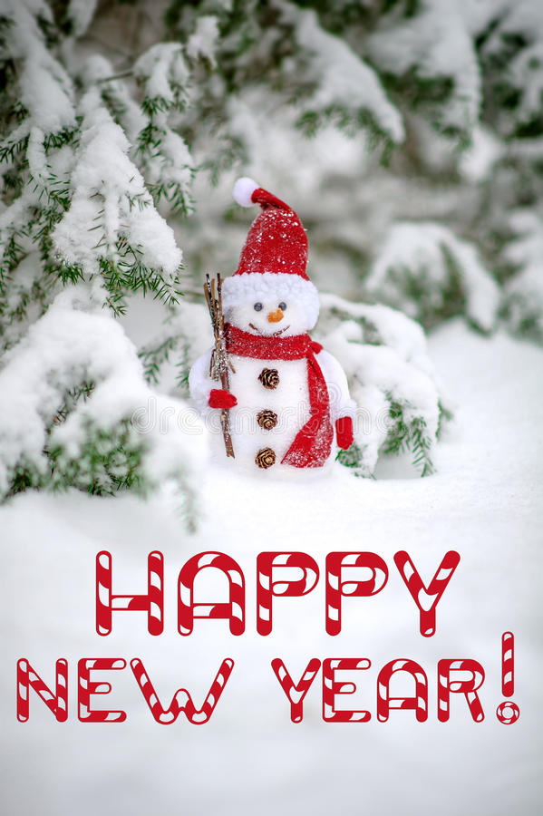 Happy new year greeting card with snowman royalty free stock image