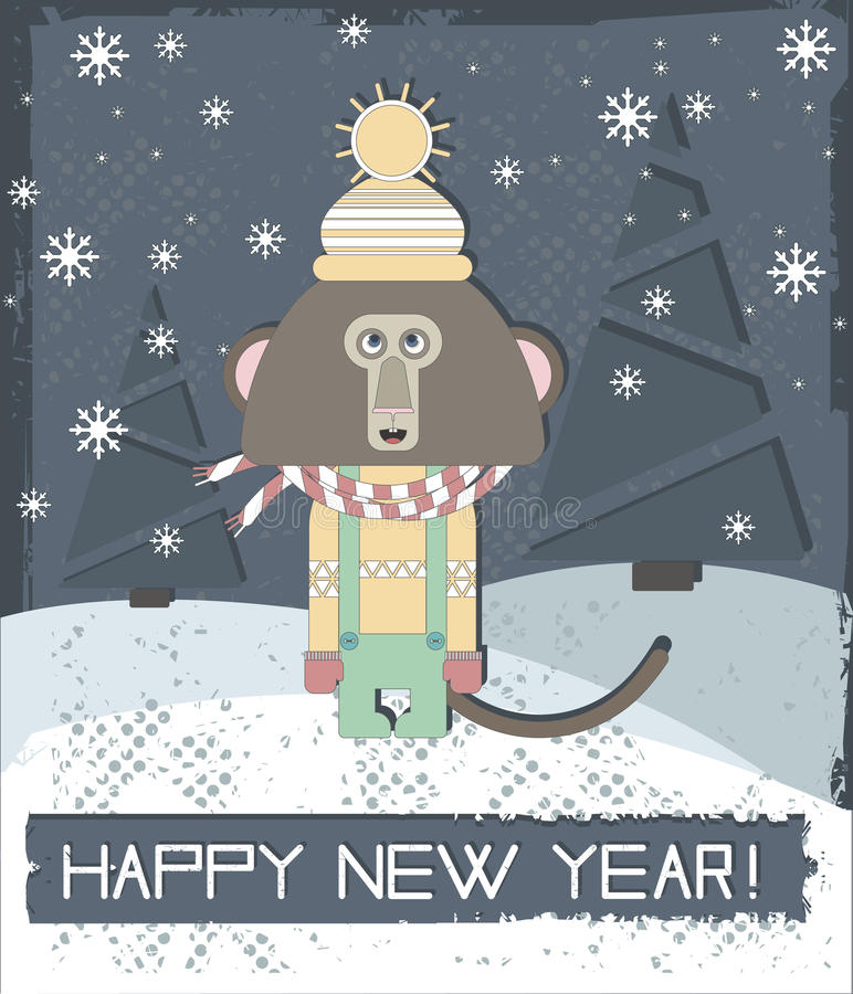 Happy New Year Greeting Card With Stylish Monkey vector illustration