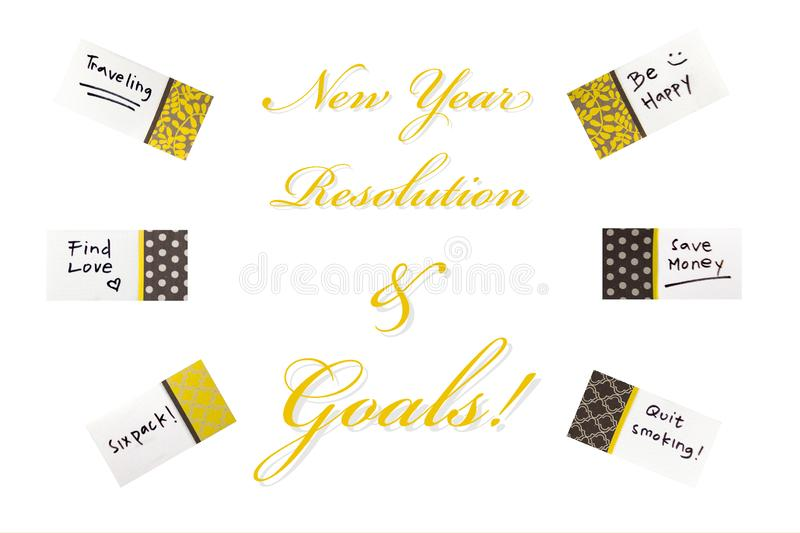 Happy New Year greeting card or template isolated white background. Resolution and goals concept royalty free stock photos