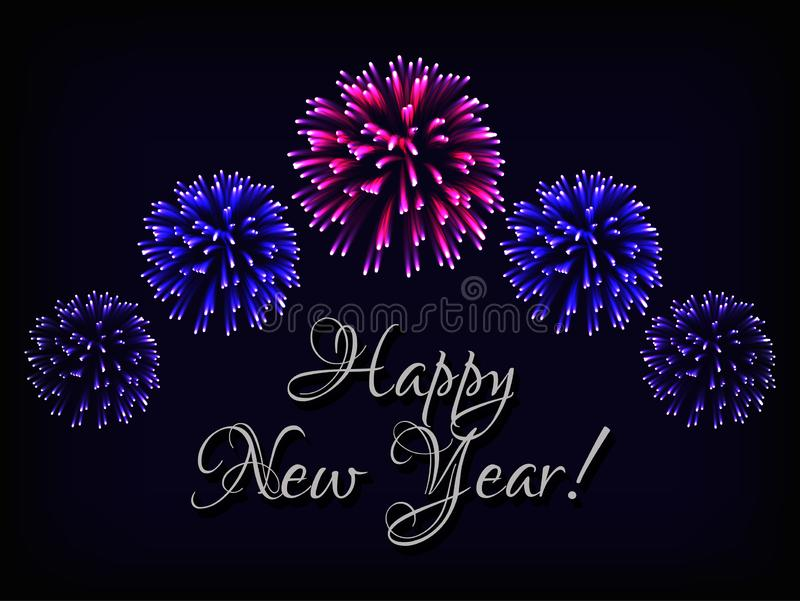 Happy New Year greeting card template with text and bright colorful fireworks on dark blue background. royalty free illustration
