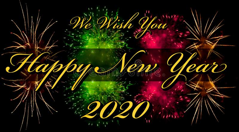 Happy New Year 2020 greeting card or template with text and firework on background royalty free stock image