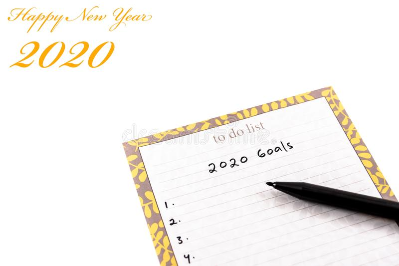 Happy new year 2020 greeting card or template with text on white background stock photo