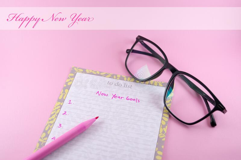 Happy new year greeting card template for woman on pink background stock photos