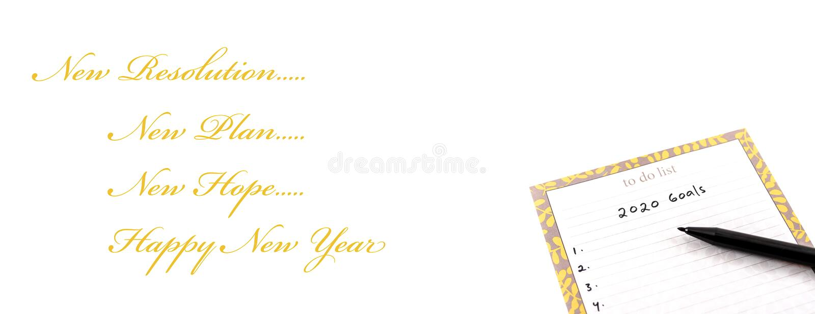 Happy new year greeting card or template with yellow gold text and 2020 goal on white background stock photography