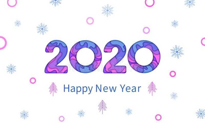 Happy New Year 2020 greeting card text design, New Year paper cut multilayer number, papercut snowflakes and trees vector illustration