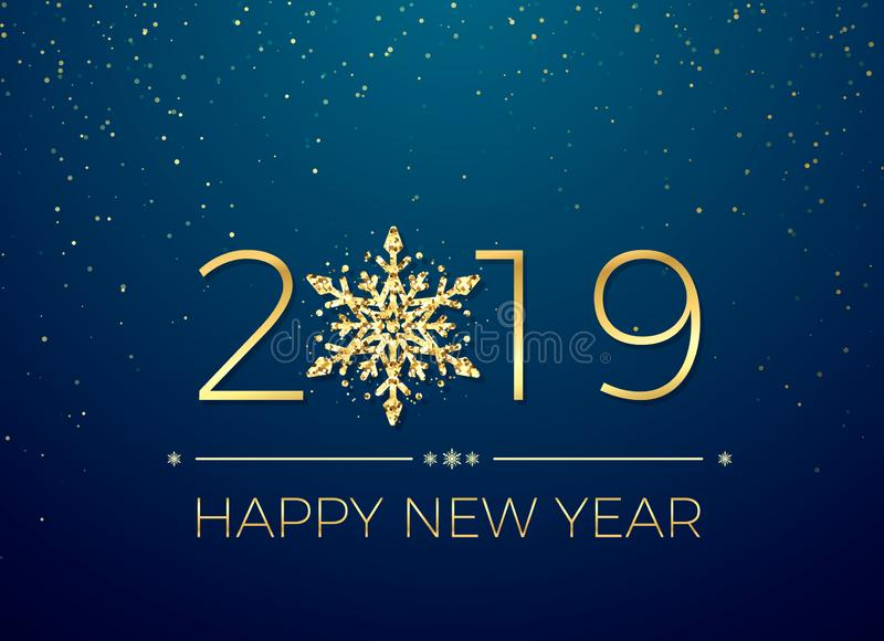 Happy New Year 2019. Greeting card text design. New Years banner with golden numbers and snowflake. Vector stock illustration