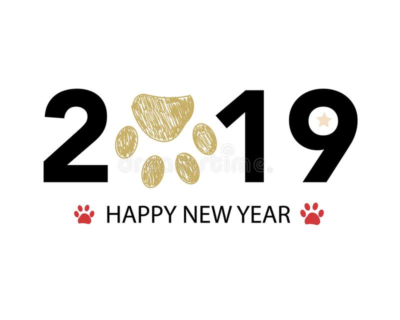 Happy new year greeting card with 2019 text and doodle red and gold paw prints vector illustration