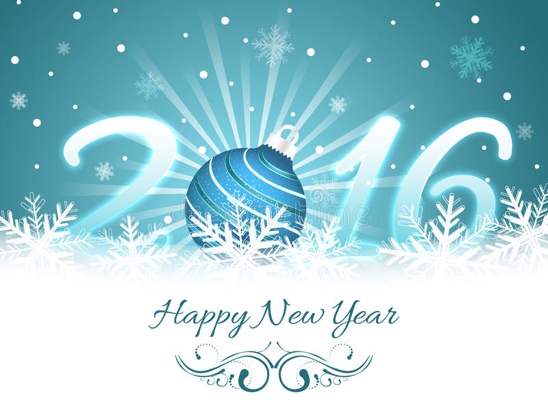 Happy New Year greeting card 2016. stock illustration