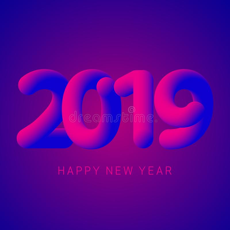 2019 Happy New Year greeting card or web banner stock illustration