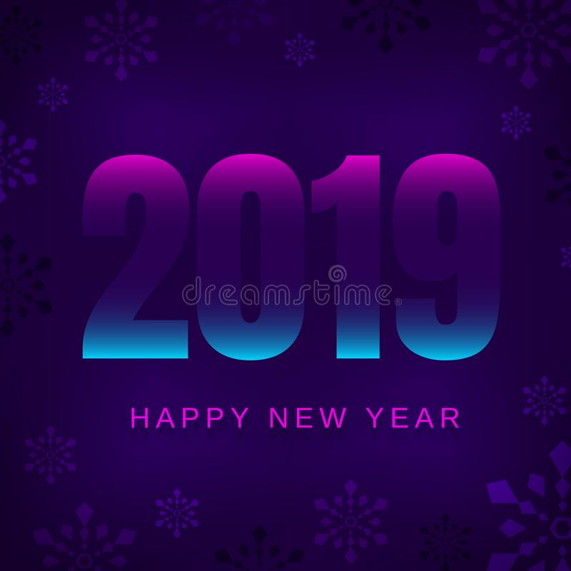 2019 Happy New Year greeting card or web banner royalty free illustration