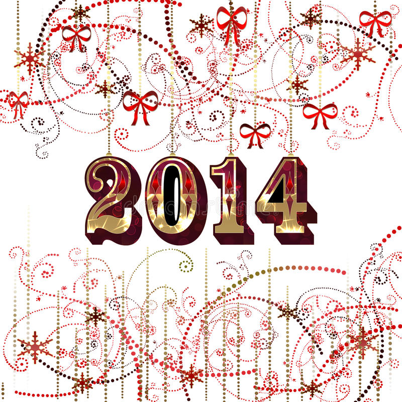 2014 Happy New Year. Greeting card 2014 on white background royalty free illustration