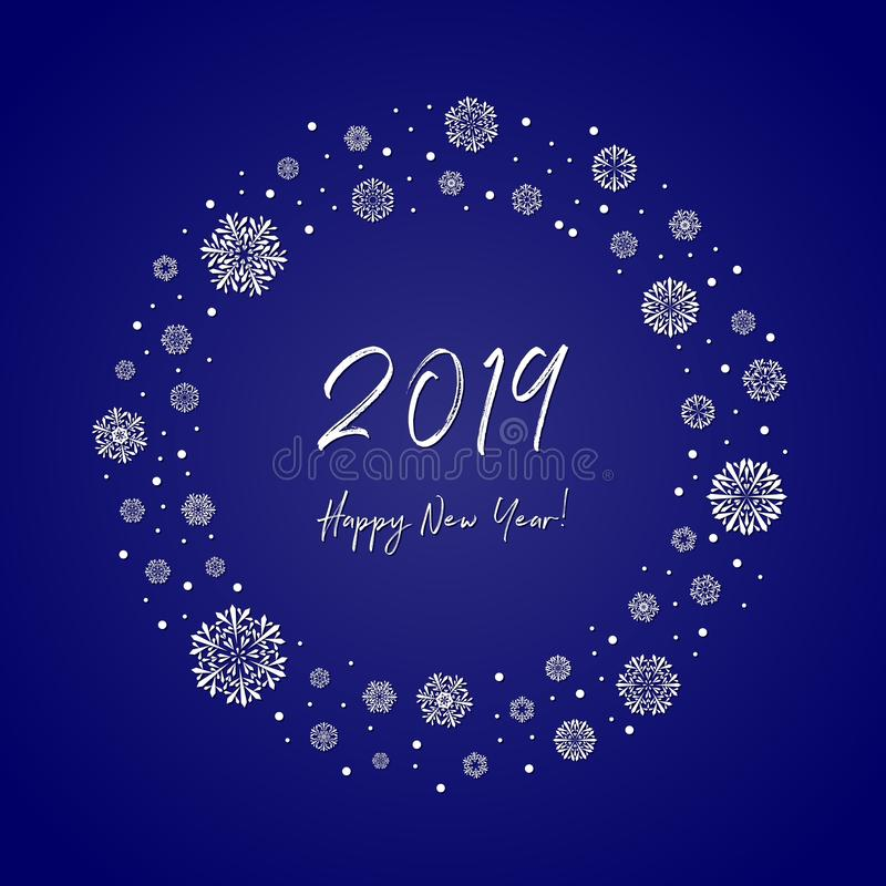2019 happy new year greeting card. white text on blue background vector illustration