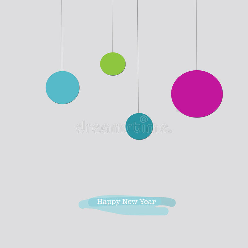Free Happy New Year Greeting Card With Blue Pink Green Baubles Royalty Free Stock Photography - 78758907
