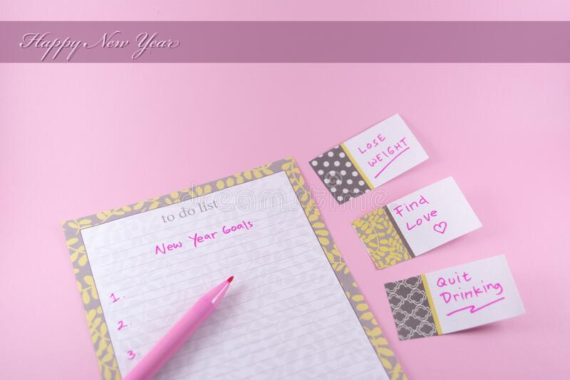 Happy new year greeting card for woman with pink theme and background royalty free stock images