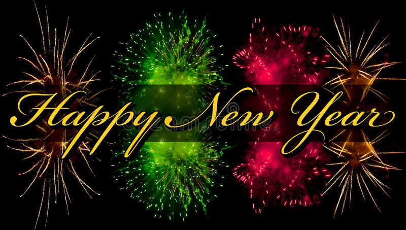 Happy New Year greeting card with yellow text and fireworks on background stock images