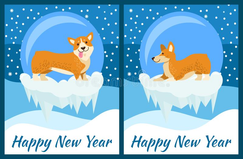 Happy New Year Greeting Cards with Cute Corgi Dog stock illustration