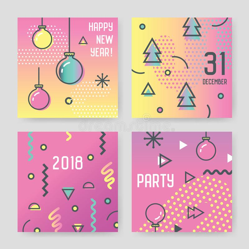 Happy New Year 2018 Greeting Cards in Trendy Abstract Memphis Style. royalty free illustration
