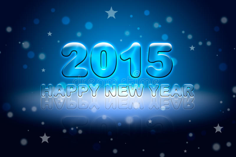 Happy New Year-2015. Greeting Christmas card (dark blue background). Glare and shine vector illustration
