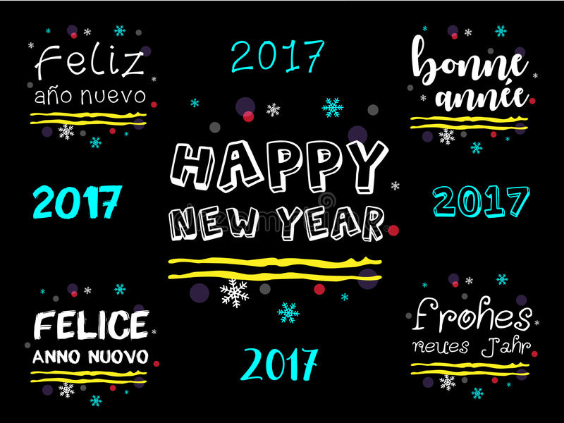 Happy New Year 2017 Greeting in Multiple Languages. stock illustration