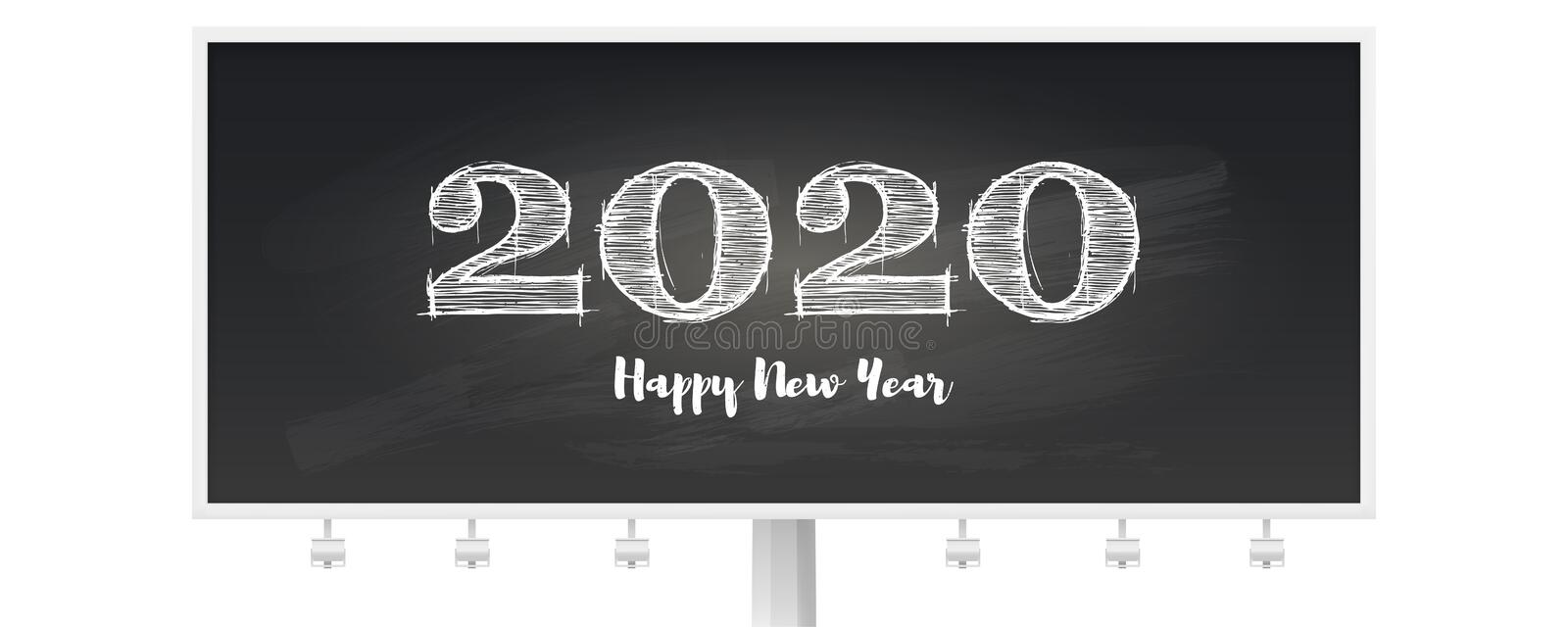 Happy New Year 2020 greeting poster. Handwritten text on billboard. Stylish retro lettering for celebration of Christmas. On blackboard with scratches. Vector stock illustration