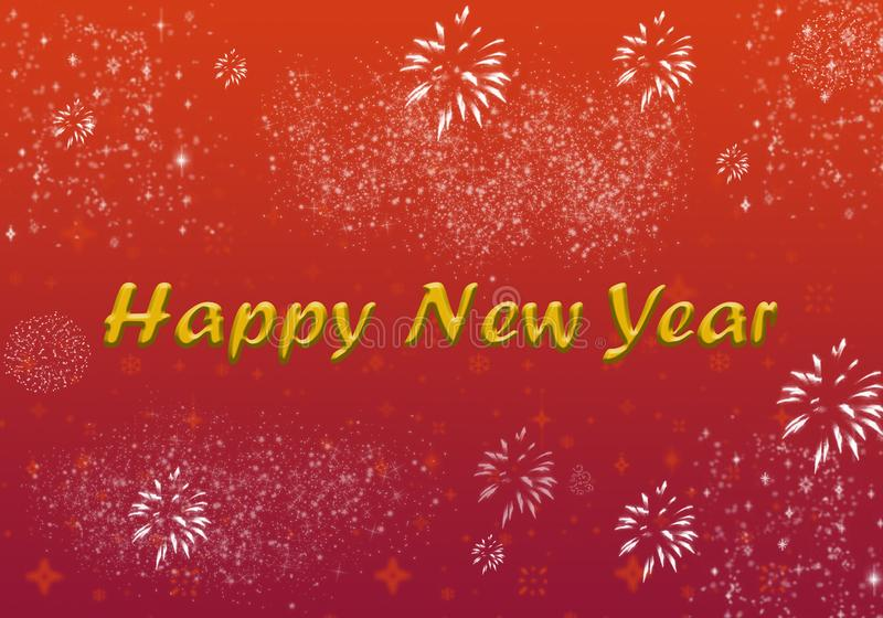 Happy New Year Greeting Shining Stars Fireworks Glittering. Happy New Year text with Shining Stars Fireworks Poster, Glittering effect , Wallpaper , Greeting vector illustration
