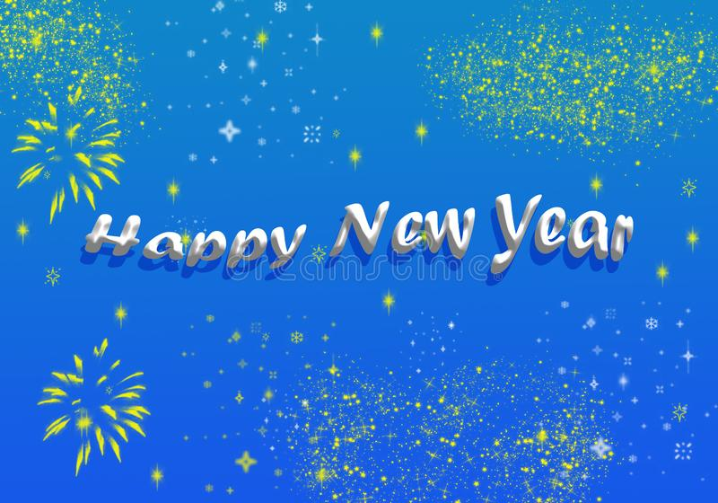 Happy New Year Greeting Shining Stars Glittering. Happy New Year text with Shining Stars Fireworks Poster, Glittering effect , Wallpaper , Greeting Card , Blue royalty free illustration