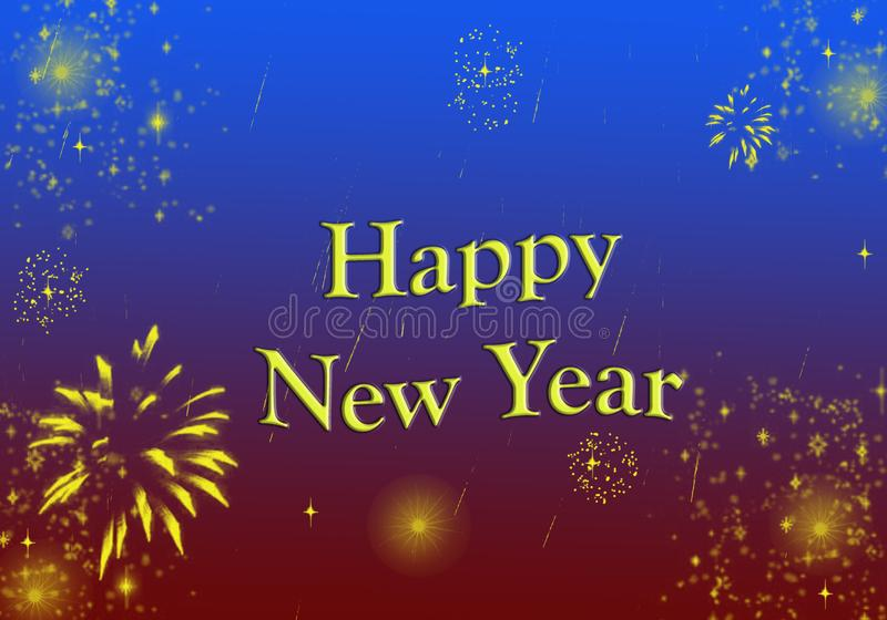 Happy New Year Greeting Shining Stars Glittering. Happy New Year text with Shining Stars Fireworks Poster, Glittering effect , Wallpaper , Greeting Card , yellow royalty free illustration