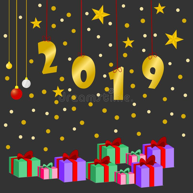 Happy new year 2019 and greetings Card vector illustration