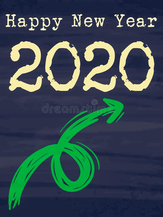 happy new year 2020 growing arrow displayed on chalkboard background stock illustration