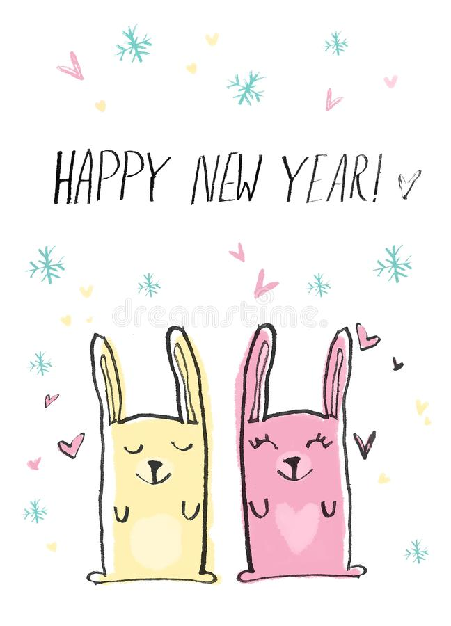 Happy new year hand drawn card poster . Cute funny bunny kid illustration . cartoon made rabbit with hearts and snowflakes ink pai vector illustration