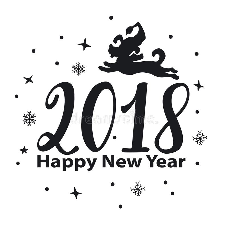Happy new year 2018 hand drawn numbers graphic with jumping cartoon dog silhouette vector illustration
