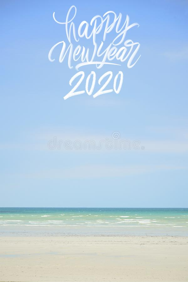 Happy new year 2020 beach royalty free stock photography