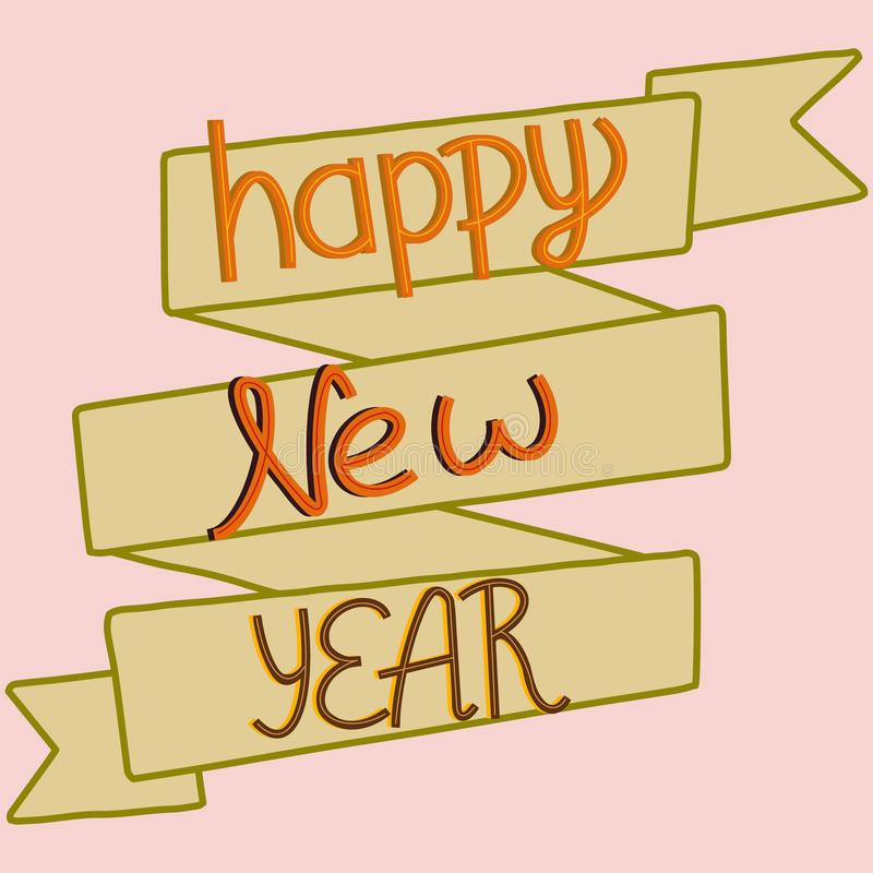 Happy New Year hand lettering royalty free illustration